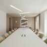Les salles de réunion sont bicolores (tables, plafond, mobilier et moquette) pour rompre la monotonie.