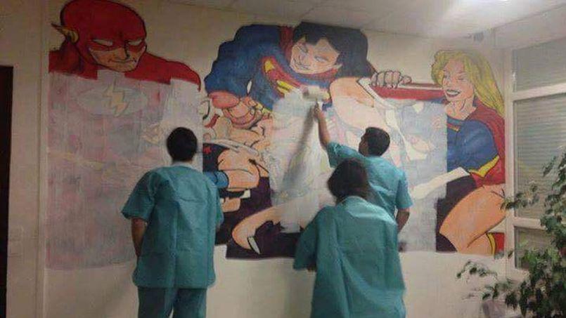 L'hôpital et le doyen de la faculté de Clermont-Ferrand ont décidé d'effacer la désormais célèbre fresque. Crédits: Facebook