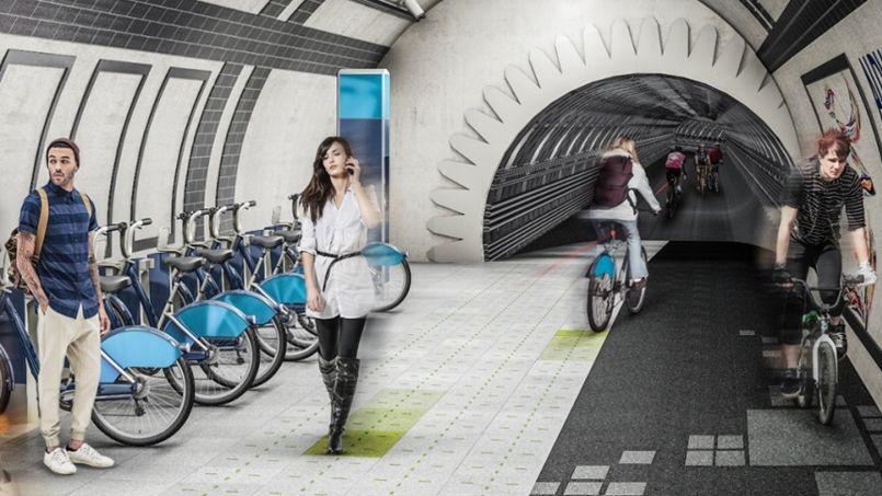 Une image des potentielles futures pistes cyclables londoniennes. Crédit: Gensler.