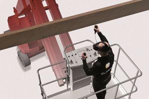 Simulation d'un exercice en hauteur, sur un chantier. (Crédit: Clarté/Virtualiteach)