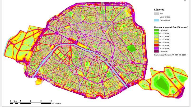 Plus de 200.000 Parisiens sont exposés quotidiennement à des niveaux de bruit supérieurs aux valeurs maximales réglementaires. Crédit: Mairie de Paris/Cartographie 2015 du bruit routier
