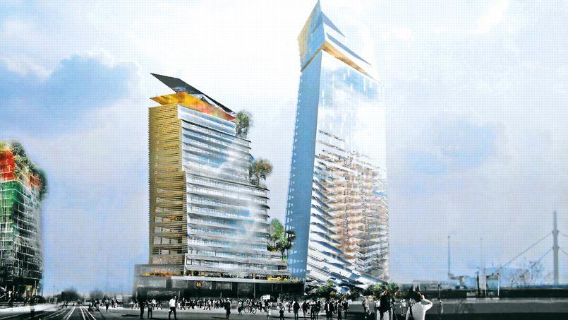 Les deux tours du projet Duo devraient mesurer 180 et 120 mètres de haut. Crédit: Ateliers Jean Nouvel