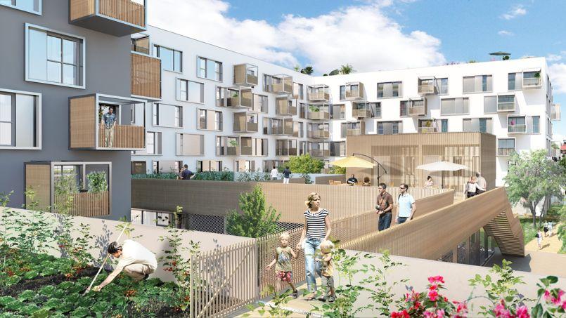 Ce programme Vinci Promotion et Groupe Brémond dans l'île de Nantes (intègre jardins et espaces de travail partagés. Crédit: DR