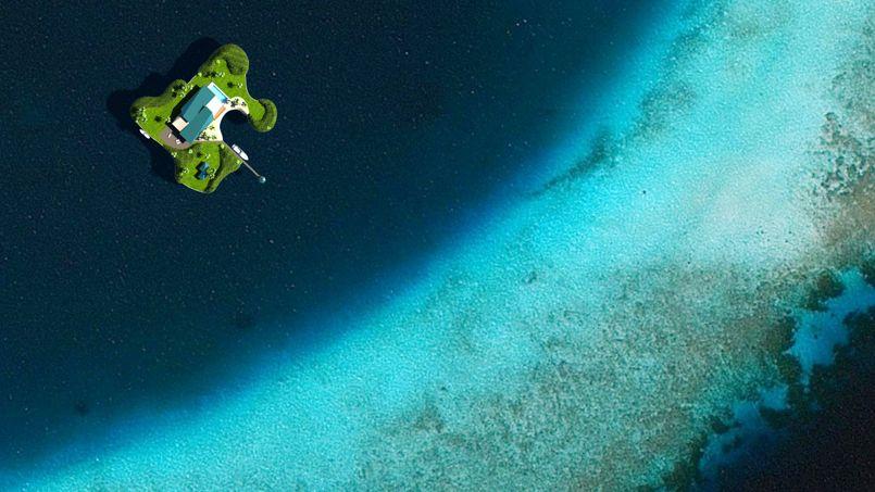 Lîle flottante vue du ciel, aux Maldives. Crédit: Dutch Dockland's.