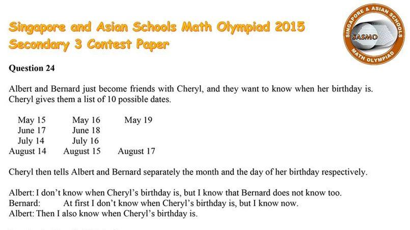 La question problématique faisait partie d'une épreuve de mathématiques à destination des meilleurs lycéens.