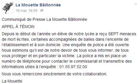 Un post Facebook du journal                  <i>La Mouette bâillonnée</i>