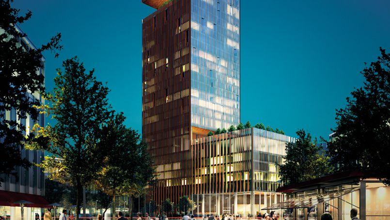 La «Manhattan Loft Gardens», édifiée par Bouygues, abritera 248 appartements au-dessus d'un hôtel de 150 chambres.