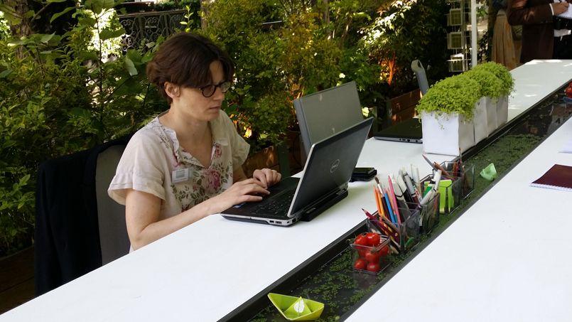 Une table de travail mêlant eau et verdure, au salon «Jardins, jardin» qui se tient jusqu'au 7 juin à Paris, au parc des Tuileries.