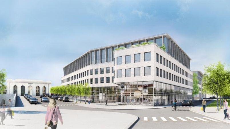 Vue sur l'îlot est de la gare Versailles-Chantiers qui acueillera 24.000m² de bureaux et commerces. Élisabeth Portzamparc concevra quant à elle 23.600 m² de logements sur l'îlot ouest. Crédit Photo: AECDP