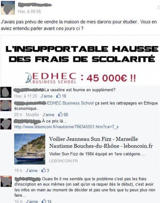 Les étudiants d'EDHEC réagissent avec humour sur Facebook