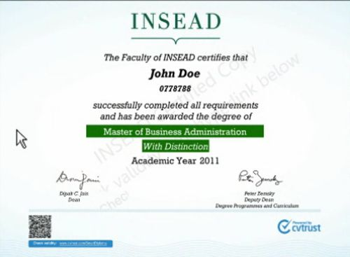 Voici ce à quoi ressemble un diplôme numérique Smart Certificate. Capture d'écran du site de CVTrust