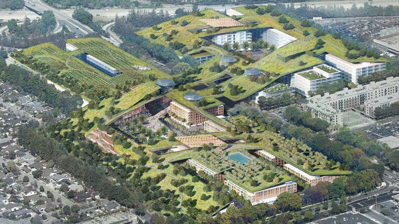 12 hectares pourraient être aménagés en jardins sur les toits de ce centre commercial implanté au milieu de la Silicon Valley en Californie. Crédit Photo: Rafael Viñoly