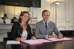 Emmanuelle Gaudemer et Frédéric Mion ont signé un partenariat. ©Sdetarle