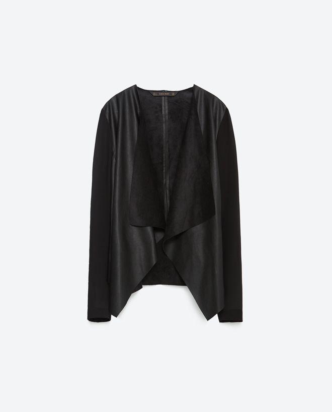 Veste drapée en simili cuir - Zara - 39,95 €