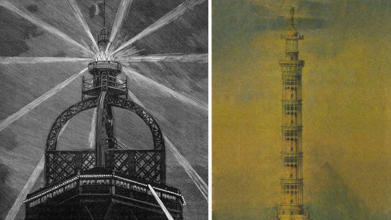 Le projet de tour-phare de Jules Bourdais (à droite) n'a pas été retenu, mais la grande dame a bien eu droit à son phare.