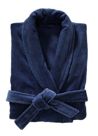 Un peignoir  chic en velours bleu foncé. Prix:  40 € - ©Hema