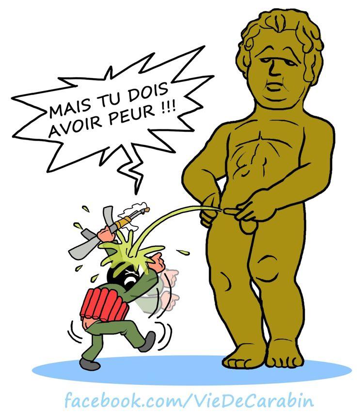 Védécé, auteur de la bande dessinée Vie de Carabin tenait à réagir aux attentats qui ont secoué Bruxelles. ©Védécé