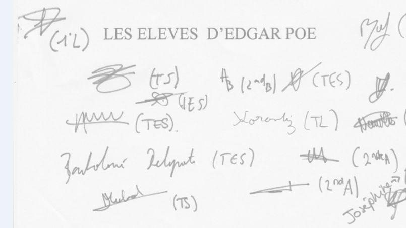 Les élèves du lycée ont écrit et signé une lettre destinée à être publiée dans le Figaro: «Dans notre lycée, certains de nos camarades arrivent à Edgar Poe «chiffonnés», ce ne sont pas pour autant des cancres»