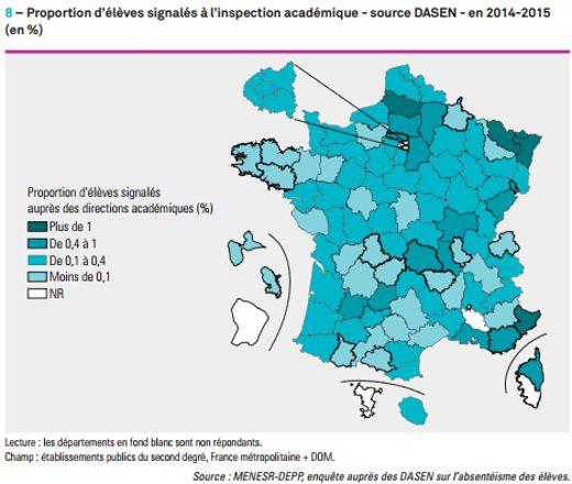 LÎle-de-France déclare entre 0,1 et 0,4% d'élèves absentéistes.