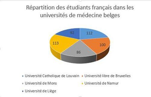 Les étudiants français se répartissent équitablement entre les 5 facultés francophones.