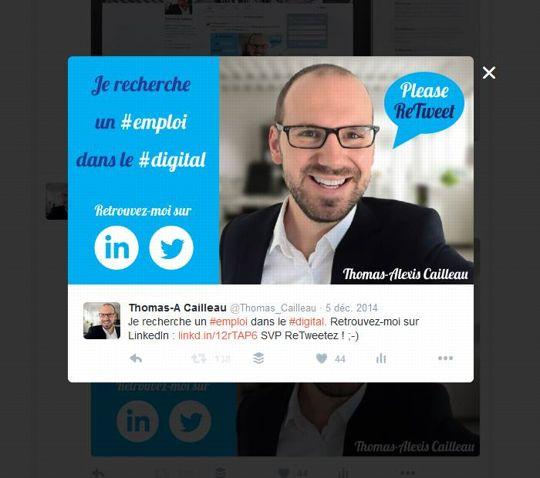C'est ce tweet qui a permis à Thomas-Alexis Cailleau de trouver un emploi. ©DR
