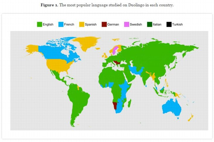 Les langues les plus populaires sur Duolingo par pays. ©Duolingo