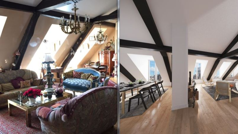 avant apr s un appartement vieillot revisit gr ce la 3d. Black Bedroom Furniture Sets. Home Design Ideas