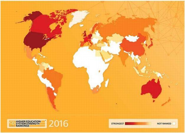 Plus les pays sont foncés, plus leur système éducatif est «puissant», selon QS.