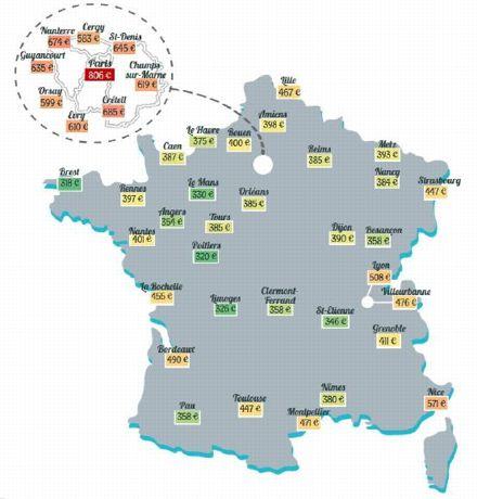 La densité des couleurs entre Brest et Paris permet de situer le loyer pratiqué pour un studio selon les villes étudiantes. ©LocService.fr