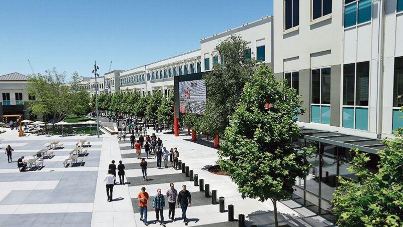 Le siège de Facebook, Menlo Park, s'étend sur plusieurs kilomètres.