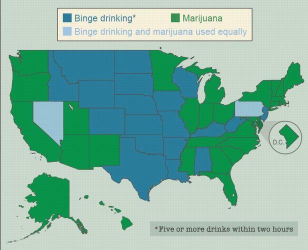 Le «binge drinking» correspond à la consommation de cinq verres ou plus en deux heures. Source: Project Know, la consommation de drogue dans les lycées.