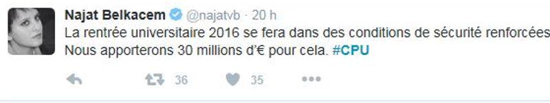 Un tweet de Najat Vallaud-Belkacem à l'issue de l'Université d'été annonce l'aide financière.