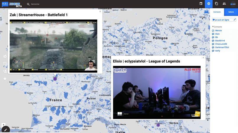 La carte de Jideon.com permet de suivre les gamers du monde entier. ©Zakarya Bougatef