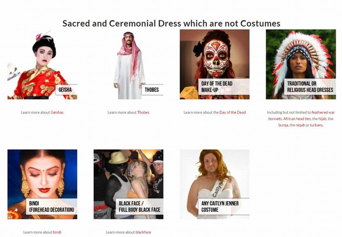 «Tenues sacrées et cérémonielles qui ne peuvent pas être utilisées comme des déguisements».