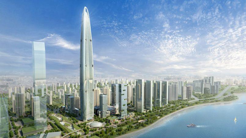 Cette tour chinoise de Wuhan sera le plus haut chantier de 2017. Crédit: Greenland Group