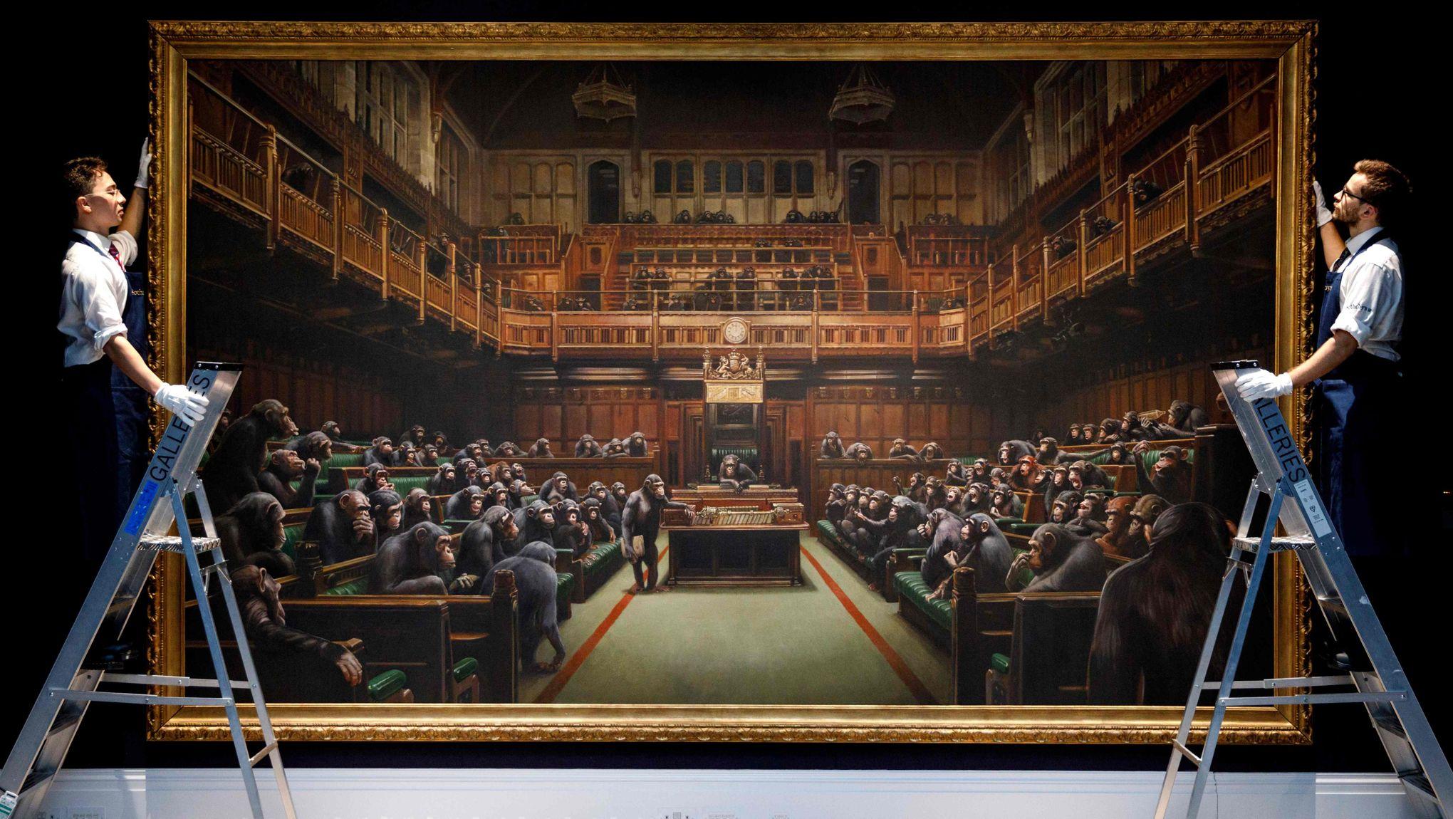 Des chimpanzés au parlement britannique: une œuvre de Banksy critique du Brexit aux enchères