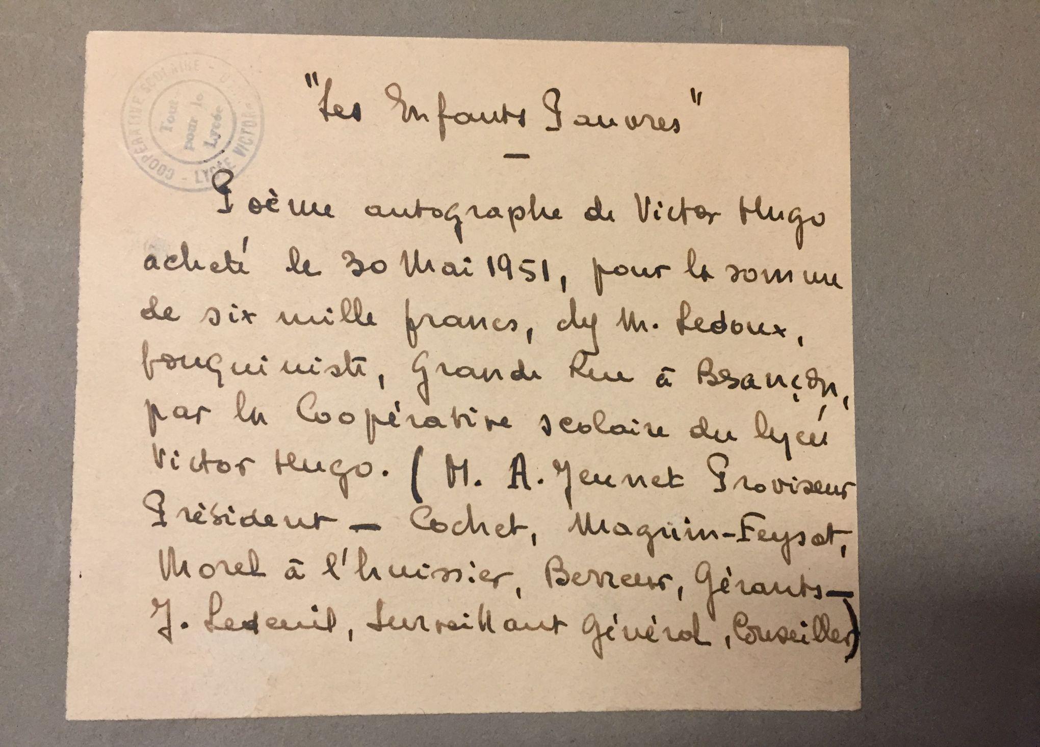 Картинки по запросу Un poème manuscrit de Victor Hugo refait surface au collège Victor-Hugo de Besançon