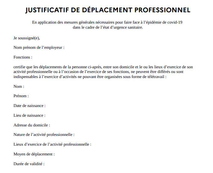 L Attestation De Deplacement A Telecharger Pour Travailler
