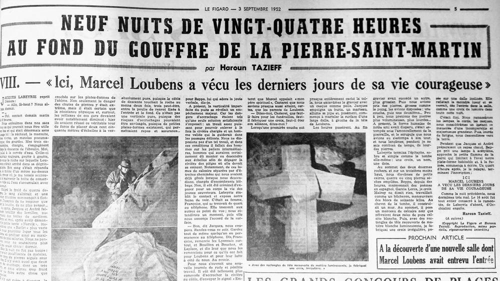 Récit du Figaro de la chute de Marcel Loubens