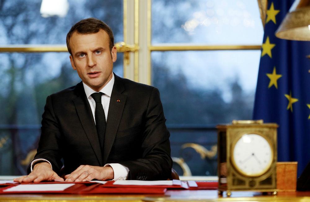 Emmanuel Macron à l'Elysée, le 30 décembre 2017