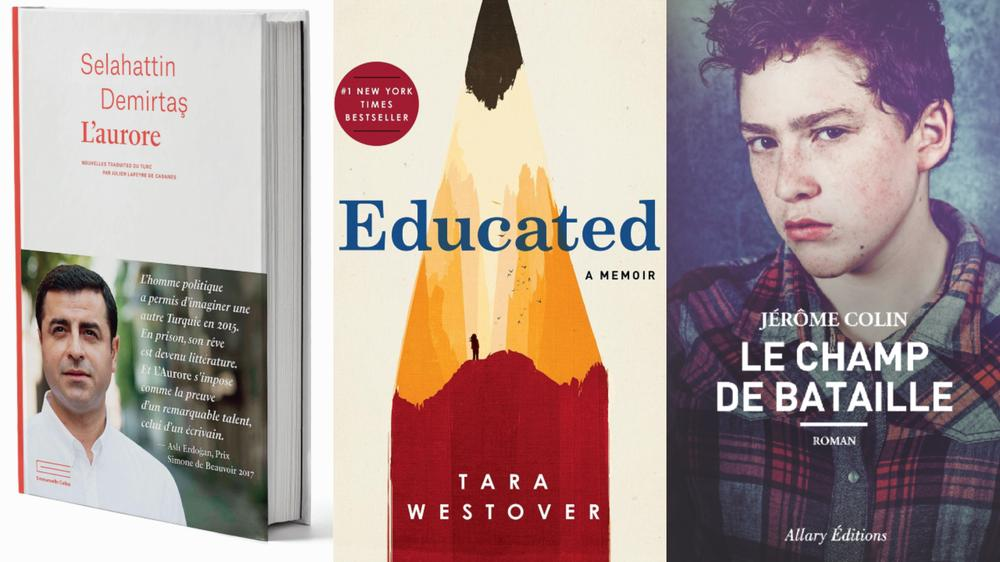 Trois ouvrages : « L'Aurore », « Educated », « Le Champ de bataille »