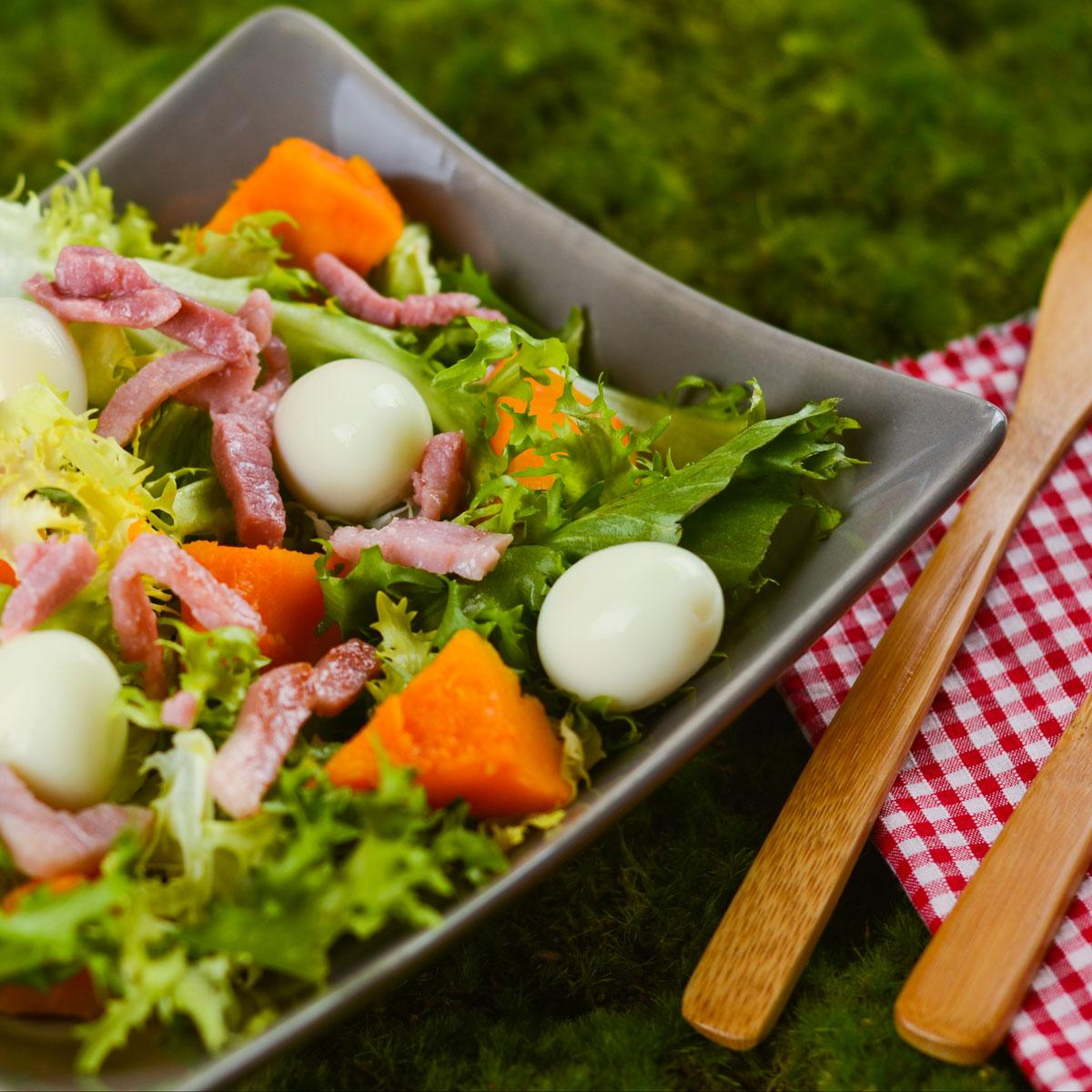 recette salade de potimarron lardons et uf dur cuisine. Black Bedroom Furniture Sets. Home Design Ideas