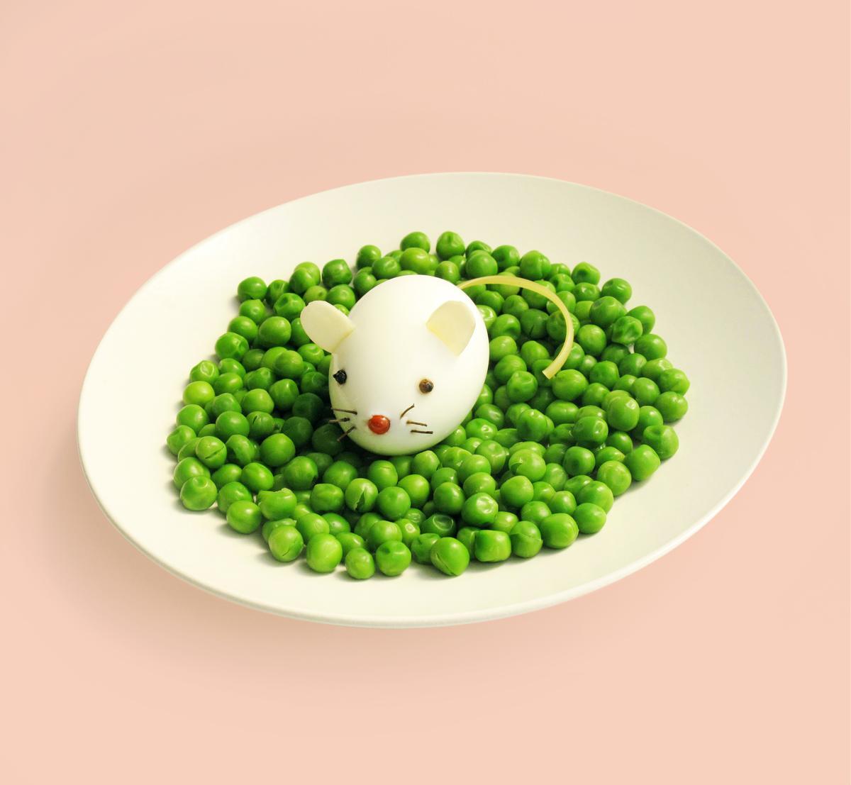 Recette uf dur sur lit de petits pois fa on souris - Comment cuisiner les petits pois ...