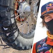 Dakar: l'exploit de Toby Price avec un pneu éventré rafistolé au ruban adhésif