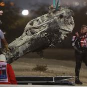 La carcasse de la voiture de Romain Grosjean