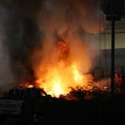 La voiture de Grosjean prend feu