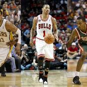 Danny Granger (Indiana), Derrick Rose (Chicago) et Brandon Jennings (Milwaukee)