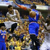 Indiana Pacers New York Knicks D.J. Augustin Roy Hibbert Amar'e Stoudemire Jason Kidd J.R. Smith