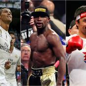 Cristiano Ronaldo, Floyd Mayweather et Manny Pacquiao