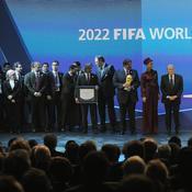 Le cheikh Hamad bin Khalifa Al Thani (Emir du Qatar) - Joseph Sepp Blatter (president Fifa)
